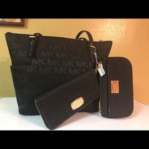 Michael Kors Black Jacquard Medium tote 3 piece